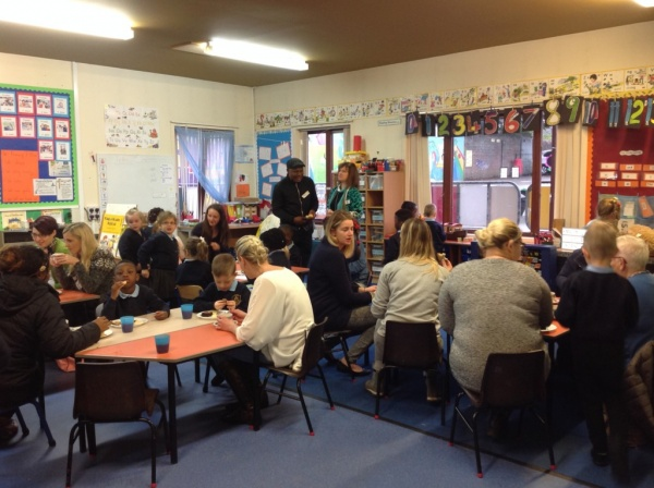 Primary 1 blue's MacMillan Coffee Morning